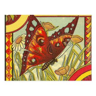 Mariposa roja postales