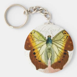 Mariposa roja y amarilla del estilo del vintage llavero redondo tipo pin
