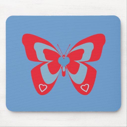 Mariposa roja y azul alfombrillas de ratón