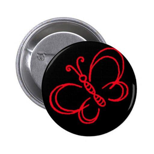Mariposa roja y negra pins
