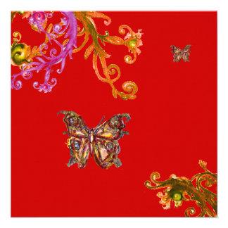 MARIPOSA rojo amarillo rosado brillante Invitacion Personal