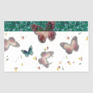 mariposa romántica del boda con la frontera pegatina rectangular