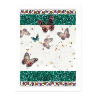 mariposa romántica del boda con la frontera tarjetas postales