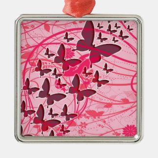 Mariposa rosada adorno navideño cuadrado de metal