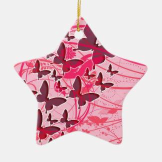 Mariposa rosada adorno navideño de cerámica en forma de estrella