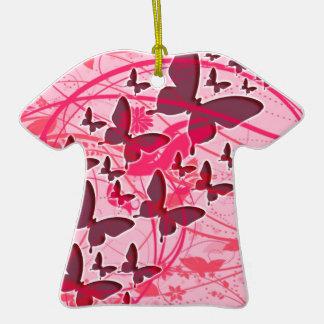 Mariposa rosada adorno navideño de cerámica en forma de playera
