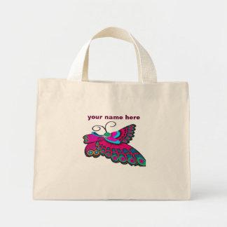 Mariposa rosada bolsa de tela pequeña