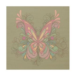 Mariposa rosada bonita cuadros de madera