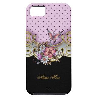 mariposa rosada bonita del blanco del negro del iPhone 5 carcasas