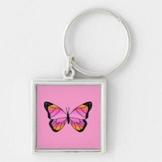 Mariposa rosada bonita llavero cuadrado plateado