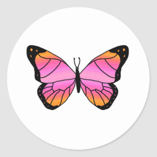 Mariposa rosada bonita pegatina redonda