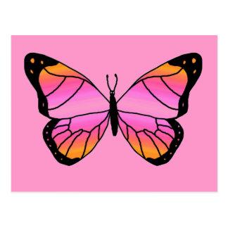 Mariposa rosada bonita tarjeta postal