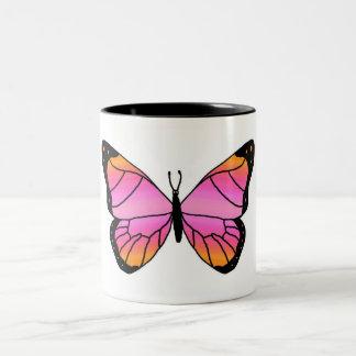 Mariposa rosada bonita taza de dos tonos