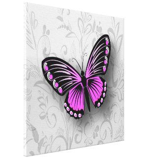 Mariposa rosada caprichosa en floral gris lona envuelta para galerías
