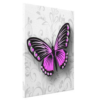 Mariposa rosada caprichosa en floral gris impresiones en lona
