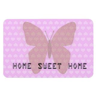 Mariposa rosada casera dulce casera de los corazon iman flexible