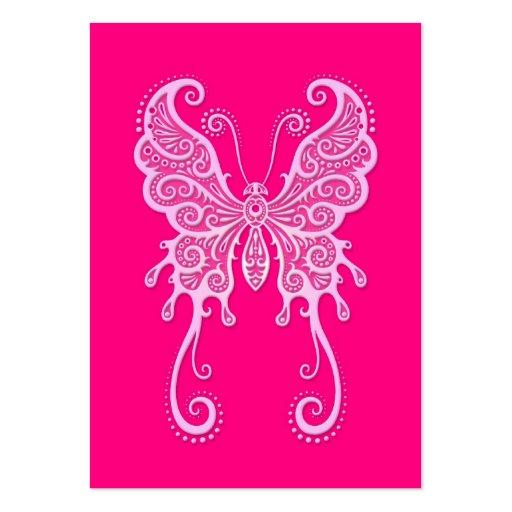 Mariposa rosada compleja tarjetas de visita grandes