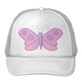 Mariposa rosada con las flores púrpuras gorras