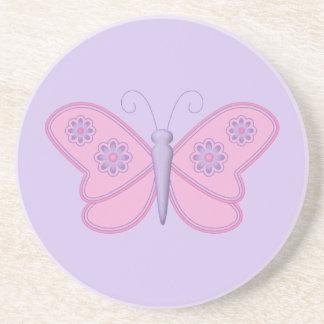 Mariposa rosada con las flores púrpuras posavasos manualidades
