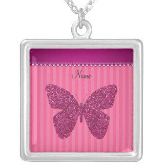 Mariposa rosada conocida personalizada del brillo colgante cuadrado