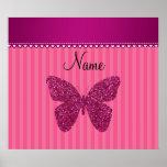 Mariposa rosada conocida personalizada del brillo posters
