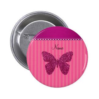 Mariposa rosada conocida personalizada del brillo pin