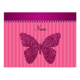 Mariposa rosada conocida personalizada del brillo postal