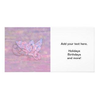 Mariposa rosada de Bokeh Tarjeta Personal Con Foto