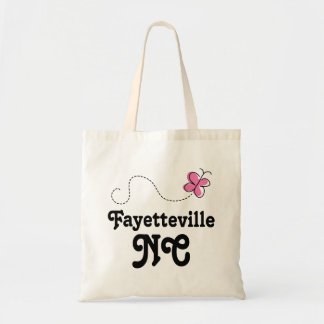 Mariposa rosada de Fayetteville Carolina del Norte Bolsa Tela Barata