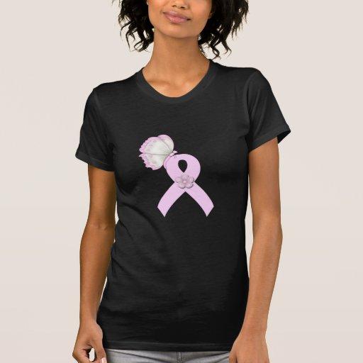 Mariposa rosada de la cinta camisetas