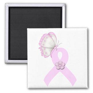 Mariposa rosada de la cinta imán cuadrado