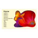 Mariposa rosada de la flor de la amapola - multi tarjeta de visita