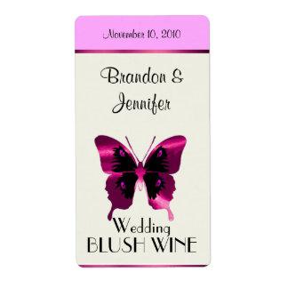 Mariposa rosada de la hoja que casa mini etiquetas etiqueta de envío
