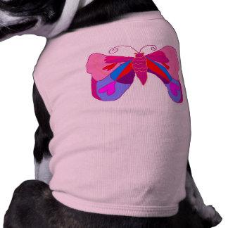 Mariposa rosada de los corazones de Loveing de la Camiseta De Mascota