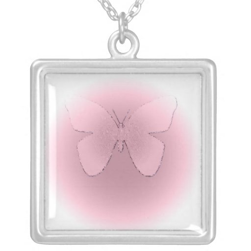 Mariposa rosada del vitral en blanco colgante cuadrado