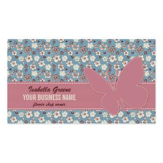 Mariposa rosada en modelo azul floral del vintage tarjetas de visita