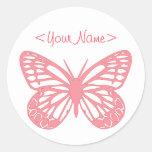 Mariposa rosada etiquetas redondas