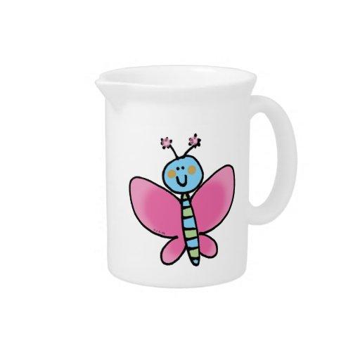 Mariposa rosada jarron