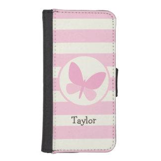 Mariposa rosada linda en rayas retras cartera para iPhone 5