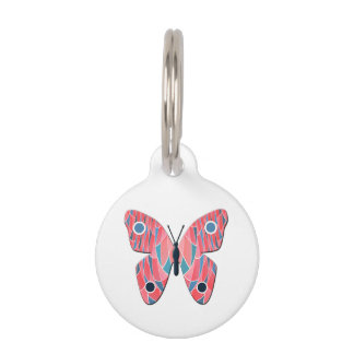 Mariposa rosada placa para mascotas