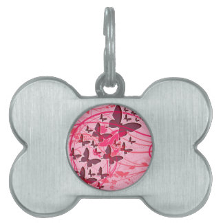 Mariposa rosada placas mascota
