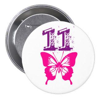 "Mariposa rosada, púrpura ""11"" botón para la edad pin redondo de 3 pulgadas"