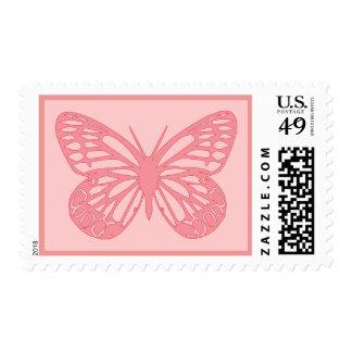 Mariposa rosada sello