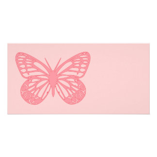 Mariposa rosada tarjeta fotográfica