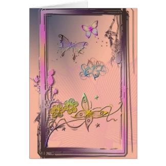 Mariposa rosada tarjeta pequeña