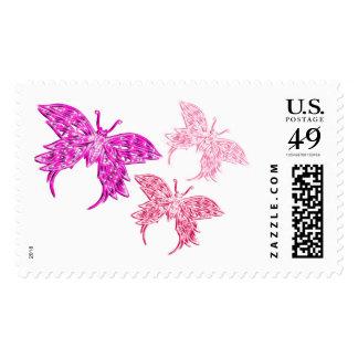 Mariposa rosada timbres postales