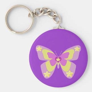 Mariposa rosada y amarilla con las flores llavero redondo tipo pin