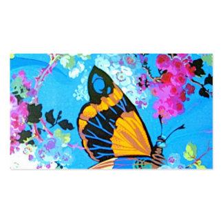 Mariposa rosada y azul Placecard Plantillas De Tarjetas De Visita