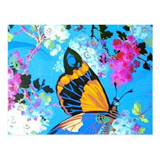Mariposa rosada y azul postal