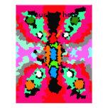 Mariposa rosada y gris cristalizada moderna plantilla de membrete